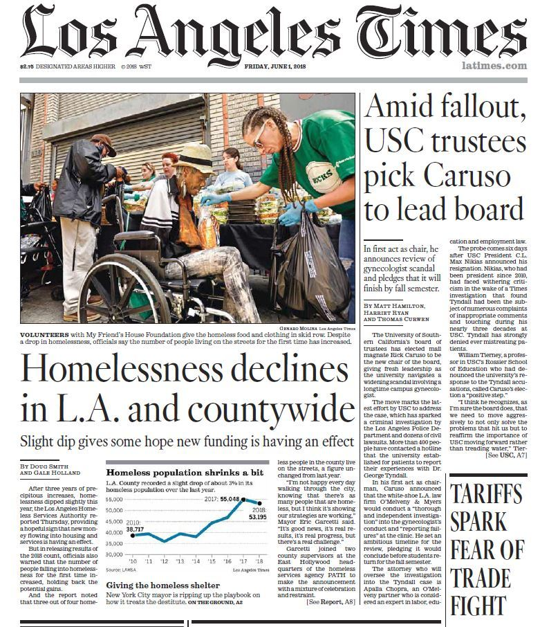 LA Times, Friday June 1, 2018
